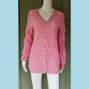 MICHAEL KORS Pink Striped Seersucker V-Neck Tunic